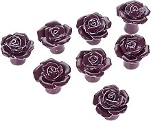 Purple 8PCS Modern Ceramic Rose Flower Drawer