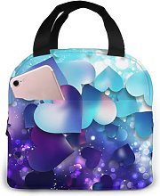Purple and Blue Love53 Portable Lunch Tote Bag