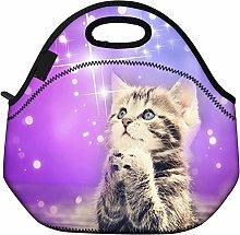 Purple Big Butterfly Insulated Neoprene Lunch Bag