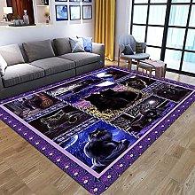 Purple Black Plaid Animal Cat Printed Foam Rug