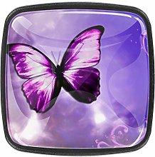 Purple Butterfly 4pcs Glass Cupboard Wardrobe