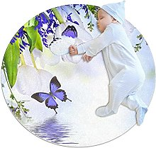 Purple butterfly, Kids Round Rug Polyester Throw