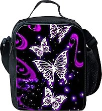 Purple Butterfly Lunch Bag Insulated Cooler Bags