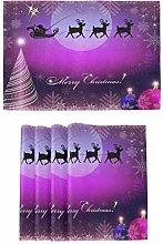 Purple Christmas Tree Ball Placemats Kitchen