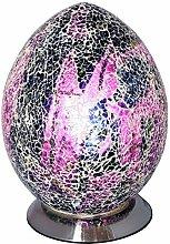 Purple Crackle Mosaic Glass Vintage Egg Table Lamp