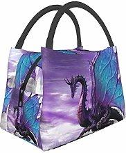 Purple Dragon Zodiac Constellations Lunch Bag