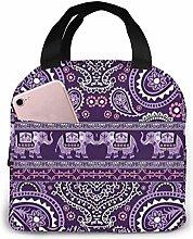 Purple Elephant Paisley Cute PineLunch Box Handbag