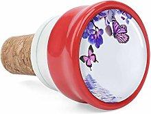 Purple Floral Butterflies Decorate Wine Cork Wine
