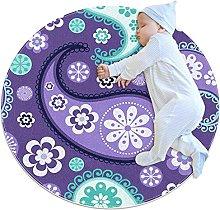 Purple floral, Round Area Rug Pattern Round