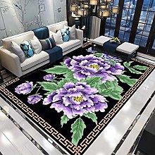 Purple flower Fluffy Rug for the Bedroom, Living