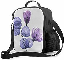 Purple Flower Leaves Insulated Lunch Box Food