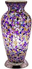 Purple Flower Mosaic Glass Vintage Vase Table Lamp
