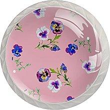 Purple Flower Pink, Modern Minimalist Printing