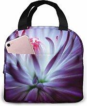 Purple Flower Pug Lunch Bag Tote Bag, Waterproof