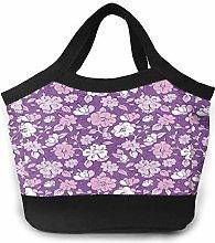 Purple Flower Women Portable Lunch Bag Tote Bags