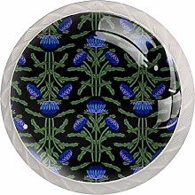 Purple Flowers 4 Pack Glass Drawer Knobs- Round