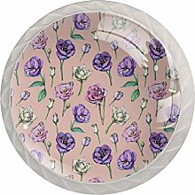 Purple Flowers 4 Pack Round ABS Drawer Knob,