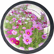 Purple Flowers 4 Pieces Crystal Glass Wardrobe