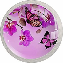 Purple Flowers and Butterflies 4 Pieces Crystal