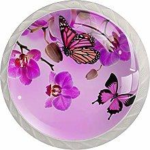 Purple Flowers Butterflies White Crystal Drawer