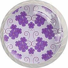 Purple Flowers, Modern Minimalist Printing