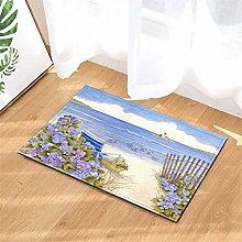 Purple Flowers. The Sea! Door Mat Front Door