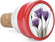 Purple Gentian Trio X-Ray Flowers Wine Cork Wine