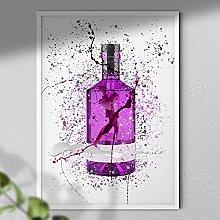Purple Gin Bottle - Wall Art Print - A4 White
