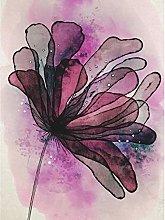 Purple Grunge Flower Watercolour Painting Premium
