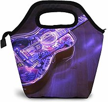 Purple Guitar Lunch Bag Waterproof Insulated Lunch