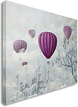 Purple Hot air balloons in the clouds 30x30 inches