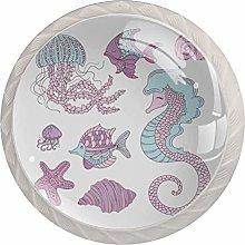 Purple Jellyfish Seahorse 4pcs Glass Cupboard