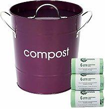 Purple Kitchen Compost Caddy & 150x All-Green