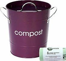 Purple Kitchen Compost Caddy & 50x All-Green
