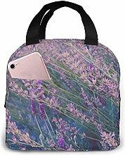 Purple Lavender Field Pink Flamingo Lunch Bag