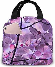 Purple Leaf Lunch Bag Reusable Lunch Box Lunch