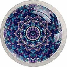 Purple Mandala Round CircleRound Glass knob White