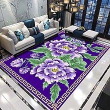 Purple peony Multicoloured Cotton Rug for