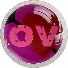 Purple Pink Love 4pcs Glass Cupboard Wardrobe