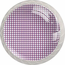 Purple Plaid Round Kitchen Cabinet Knobs - 4 pcs