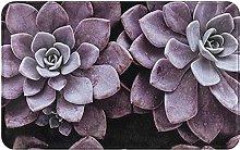 Purple Plants Welcome Door Mat Indoor Outdoor