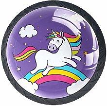 Purple Rainbow Unicorn Crystal Drawer Handles