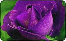 Purple Rose Flower Welcome Door Mat Indoor Outdoor