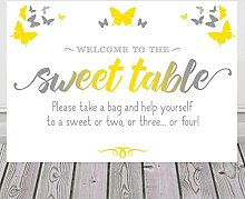 Purple Scrunch Butterfly Sign For Sweet Table