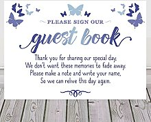 Purple Scrunch Butterfly Sign For Wedding Guest