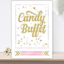 Purple Scrunch Glitzy Glam Candy Buffet Table Sign