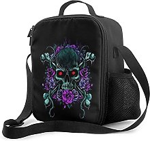 Purple Skulls Insulated Lunch Bag, Leakproof Flat