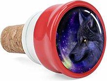 Purple Starry Sky Wolf Head Wine Cork Wine Bottle