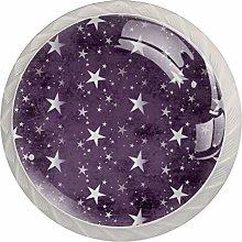 Purple Stars Drawer Round Knobs Cabinet Pull