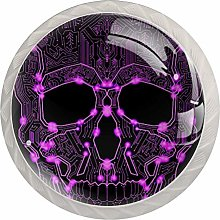 Purple Sugar Skulls 4PCS Drawer Knobs,Cabinet